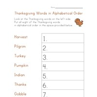 thanksgiving worksheet alphabetize