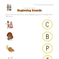 thanksgiving beginning sounds worksheet