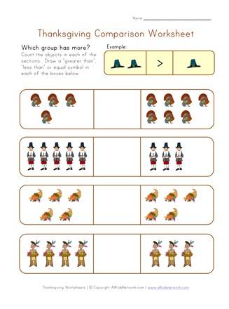 thanksgiving comparison worksheet all kids network