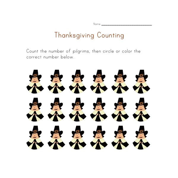 thanksgiving count to eighteen worksheet