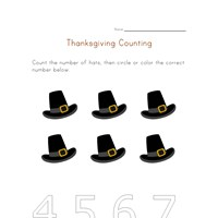 thanksgiving count to six worksheet