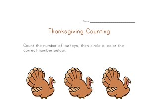 thanksgiving count to three worksheet