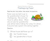 thanksgiving reading comprehension worksheet