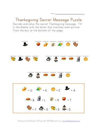 Thanksgiving Puzzle Worksheet - Decode the Thanksgiving ...