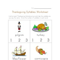 thanksgiving syllables worksheet