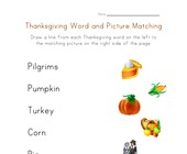 thanksgiving word matching worksheet
