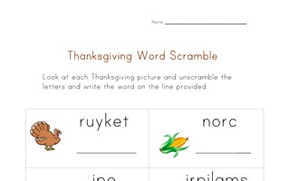 thanksgiving word scramble worksheet