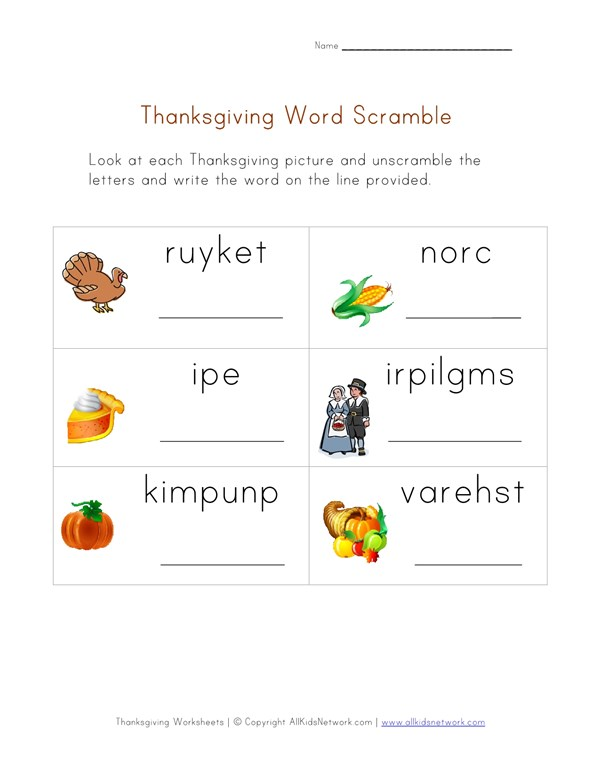 Thanksgiving Word Worksheet For Kids Word Scramble All Kids Network
