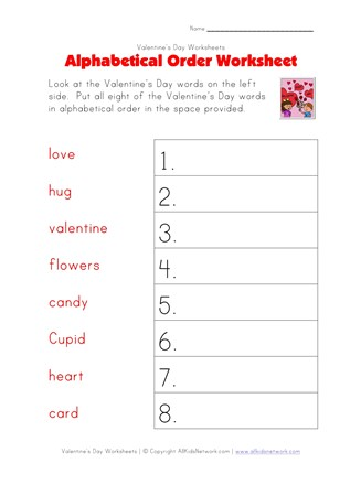 Valentine's Day Worksheet - Alphabetical Order Worksheet ...