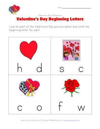 beginning letters worksheet