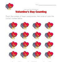 valentines day worksheet counting sixteen