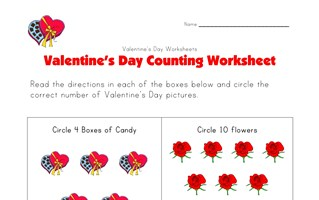valentines day counting worksheet
