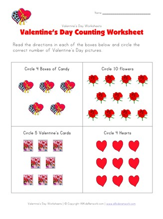 Valentine's Day Counting Worksheet | All Kids Network