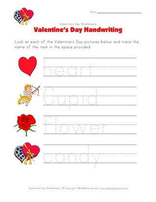 valentines day handwriting worksheet