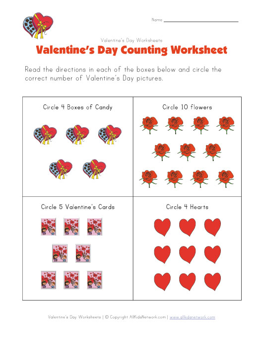 Worksheets Valentines Day Worksheet valentines day counting worksheet worksheet