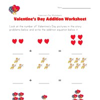 valentines day addition worksheet