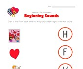 valentine's day beginning sounds worksheet