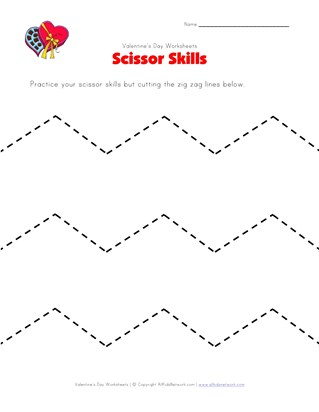 valentine's day cutting zig zag lines worksheet