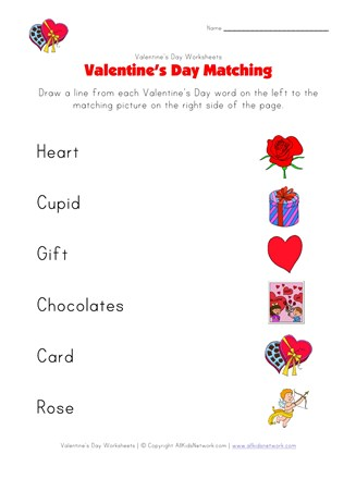 Valentines Day Matching Worksheet  All Kids Network