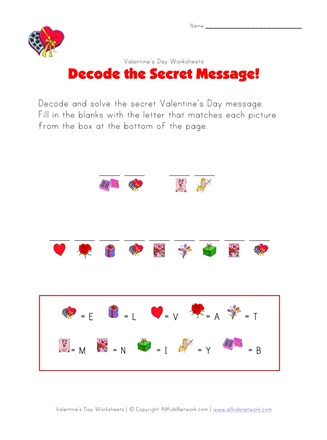 Valentine's Day Picture Cryptogram | All Kids Network