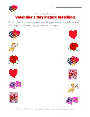 valentines day matching worksheet