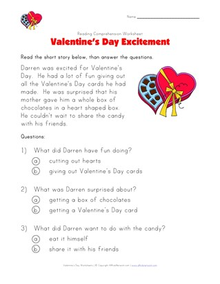valentine's day reading comprehension worksheet