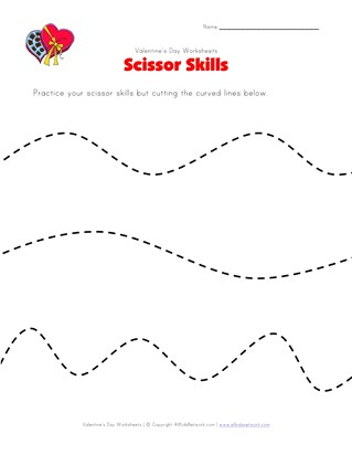 valentine's day scissor skills worksheet