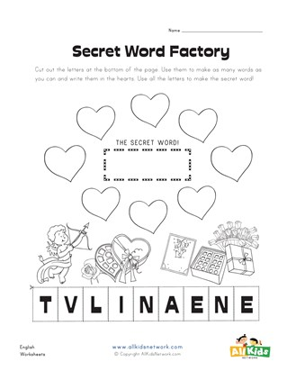 Valentine's Day Making Words Worksheet