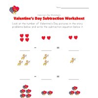 valentines day subtraction worksheet