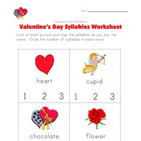 valentines day syllables worksheet
