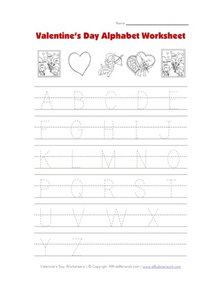 valentine's day alphabet worksheet