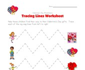 valentine's day tracing zig zag lines worksheet