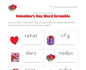 valentines day word scramble