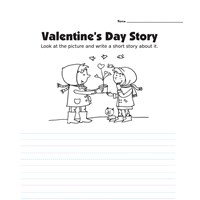Valentine's Day Picture Prompt Writing Worksheet - Primary Lines