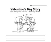 Valentine's Day Picture Prompt Writing Worksheet - Standard Lines