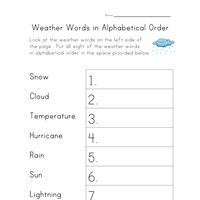 weather worksheet alphabetical order