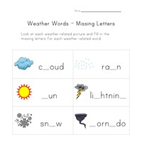 weather missing letters worksheet