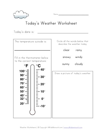 today's weather worksheet