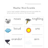weather word scramble worksheet