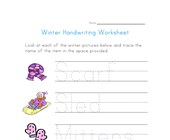winter handwriting worksheet