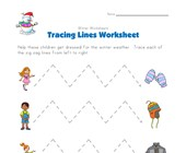 winter tracing zig zag lines worksheet