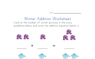 winter addition worksheet