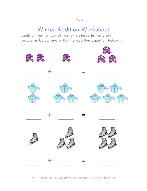 winter addition equations worksheet  all kids network