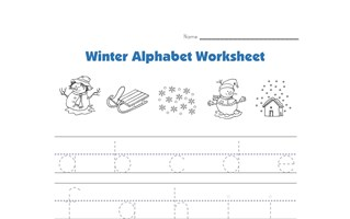 winter lowercase alphabet tracing worksheet
