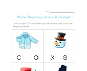 winter beginning letters worksheet