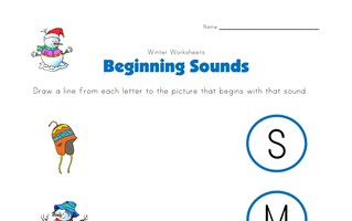 winter beginning sounds worksheet