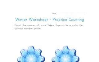 Snowflakes Counting Worksheet - Number Two