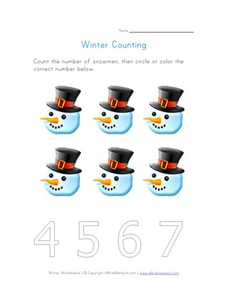 Snowman Counting Worksheet - Number Six