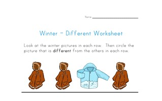 winter themed different worksheet