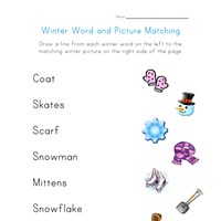 winter word matching worksheet